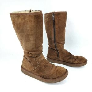 UGG Sunset Shearling Lined Tall Boots 9 Chocolate